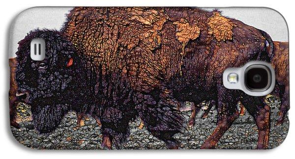 Bison Mixed Media Galaxy S4 Cases - Bull Buffalo Galaxy S4 Case by Daniel Hagerman