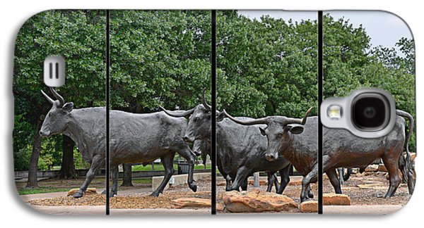 Cattle Drive Photographs Galaxy S4 Cases - Bull Market Quadriptych Galaxy S4 Case by Christine Till