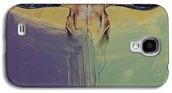 Steer Paintings Galaxy S4 Cases - Bull Galaxy S4 Case by Michael Creese