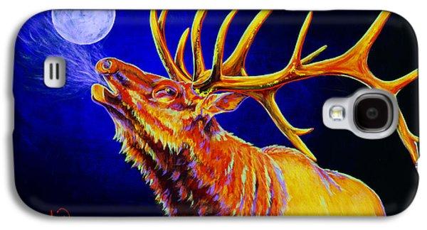 Wyoming Paintings Galaxy S4 Cases - Bull Moon Galaxy S4 Case by Teshia Art