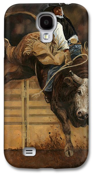 Steer Paintings Galaxy S4 Cases - Bull Riding 1 Galaxy S4 Case by Don  Langeneckert