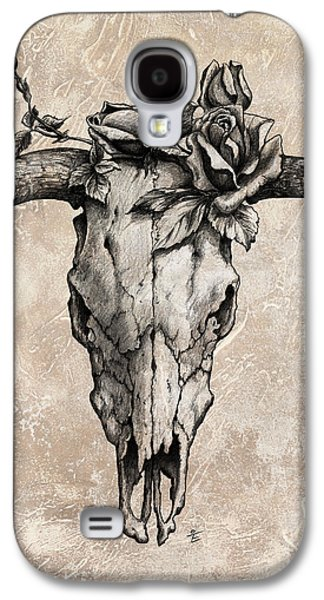 Bulls Galaxy S4 Cases - Bull Skull and Rose Galaxy S4 Case by Emerico Imre Toth