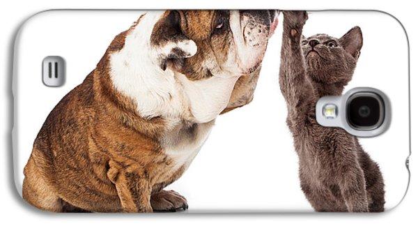 Friends Photographs Galaxy S4 Cases - Bulldog and Kitten High Five  Galaxy S4 Case by Susan  Schmitz