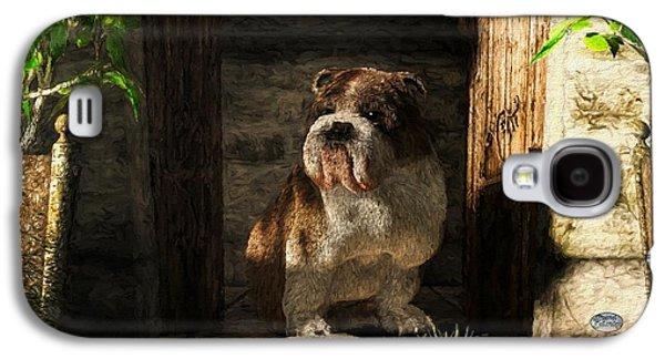 Bulldog In A Doorway Galaxy S4 Case by Daniel Eskridge