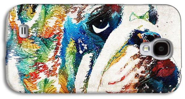 Dog Pop Art Galaxy S4 Cases - Bulldog Pop Art - How Bout A Kiss - By Sharon Cummings Galaxy S4 Case by Sharon Cummings