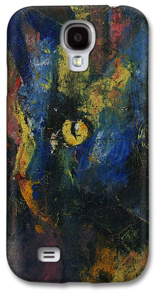 Trippy Paintings Galaxy S4 Cases - Blue Cat Galaxy S4 Case by Michael Creese