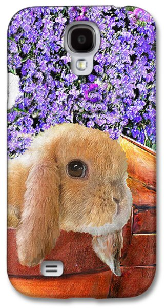 Rabbit Digital Galaxy S4 Cases - Bunny With Flowerpots Galaxy S4 Case by Jane Schnetlage