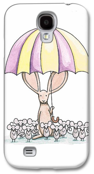 Purple Drawings Galaxy S4 Cases - Bunny with Umbrella Galaxy S4 Case by Christy Beckwith
