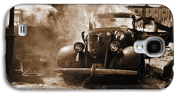 Business Galaxy S4 Cases - Burning Car Circa 1942  Galaxy S4 Case by Aged Pixel
