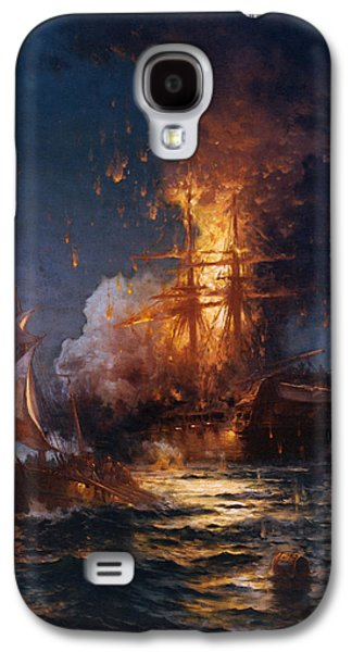 Frigates Paintings Galaxy S4 Cases - Burning of the Frigate Philadelphia in the Harbor of Tripoli Galaxy S4 Case by Edward Moran