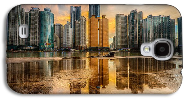 Business Pyrography Galaxy S4 Cases - Busan skyline Galaxy S4 Case by Keith Homan