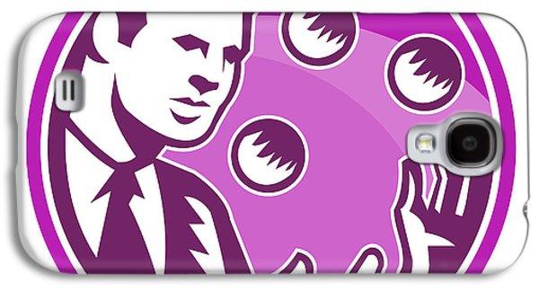 Juggling Galaxy S4 Cases - Businessman Juggler Juggling Balls Retro Galaxy S4 Case by Aloysius Patrimonio
