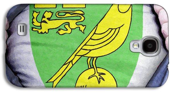Shirt Digital Art Galaxy S4 Cases - Businessman Norwich City Fan Galaxy S4 Case by Antony McAulay