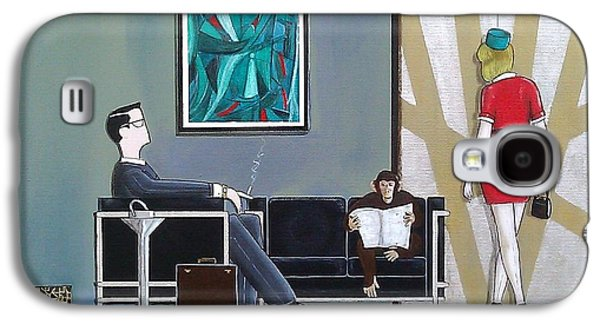 Businessman Sitting In Chair Reading A Newspaper Galaxy S4 Case by John Lyes