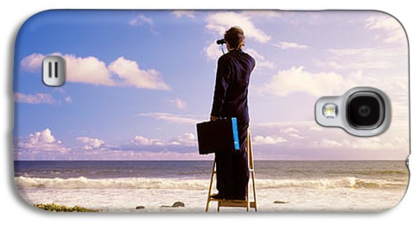 Business Galaxy S4 Cases - Businessman Standing On A Ladder And Galaxy S4 Case by Panoramic Images