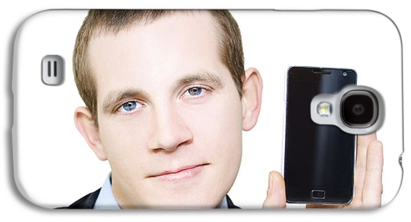 Businessman With Blank Screen Smartphone In Hand Galaxy S4 Case by Jorgo Photography - Wall Art Gallery