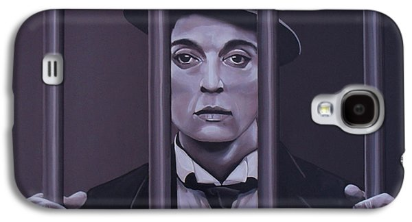 Jail Paintings Galaxy S4 Cases - Buster Keaton Galaxy S4 Case by Paul  Meijering
