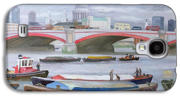 River View Paintings Galaxy S4 Cases - Busy Scene at Blackfriars Galaxy S4 Case by Terry Scales