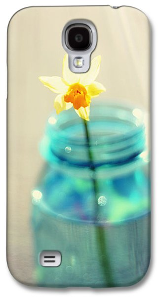 Mason Jars Galaxy S4 Cases - Buttercup Photography - Flower in a Mason Jar - Daffodil Photography - Aqua Blue Yellow Wall Art  Galaxy S4 Case by Amy Tyler