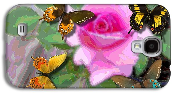 Flies Mixed Media Galaxy S4 Cases - Butterflies on Pink Potted Rose Small Teal Border Upsized Galaxy S4 Case by L Brown