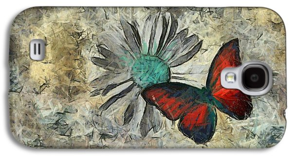 Abstract Nature Galaxy S4 Cases - Butterfly and Daisy - ftd01t01 Galaxy S4 Case by Variance Collections