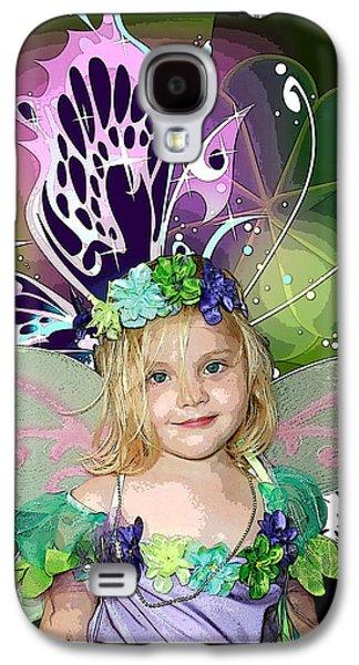 Little Girl Mixed Media Galaxy S4 Cases - Butterfly Fairy Galaxy S4 Case by Ellen Henneke