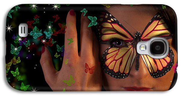 Hairstyle Digital Galaxy S4 Cases - Butterfly girl Galaxy S4 Case by Nathan Wright