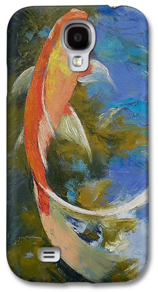 Butterfly Koi Galaxy S4 Cases - Butterfly Koi Painting Galaxy S4 Case by Michael Creese