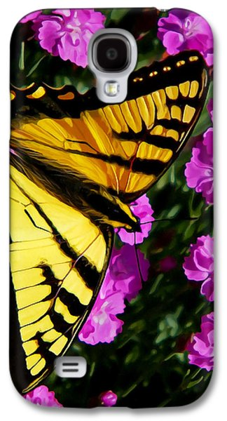 Photo Manipulation Photographs Galaxy S4 Cases - Butterfly on Pink Galaxy S4 Case by Bill Caldwell -        ABeautifulSky Photography