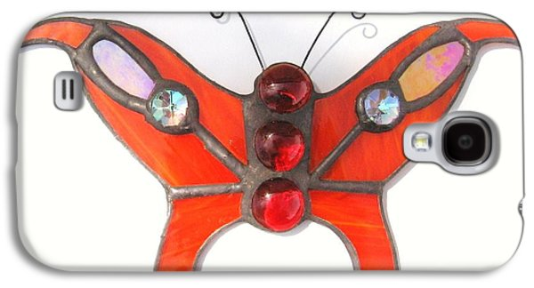 Original Art Glass Art Galaxy S4 Cases - Butterfly Stained Glass Suncatcher in Orange with Red Accents Galaxy S4 Case by Wendy Wehe-Ballone