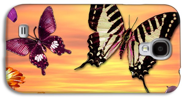 Alixandra Mullins Galaxy S4 Cases - Butterfly Sunset Galaxy S4 Case by Alixandra Mullins