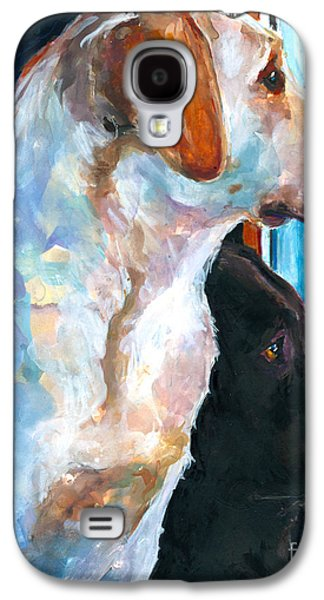 Dog Paintings Galaxy S4 Cases - By My Side Galaxy S4 Case by Molly Poole