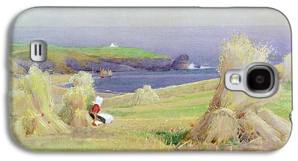 Hay Paintings Galaxy S4 Cases - By the Corn Stocks Galaxy S4 Case by Arthur Claude Strachan