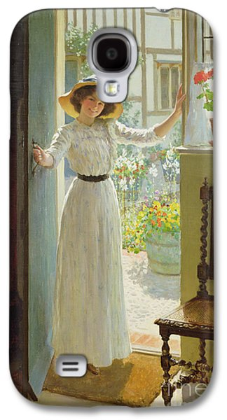 Entrance Door Galaxy S4 Cases - By the Cottage Door Galaxy S4 Case by William Henry Margetson