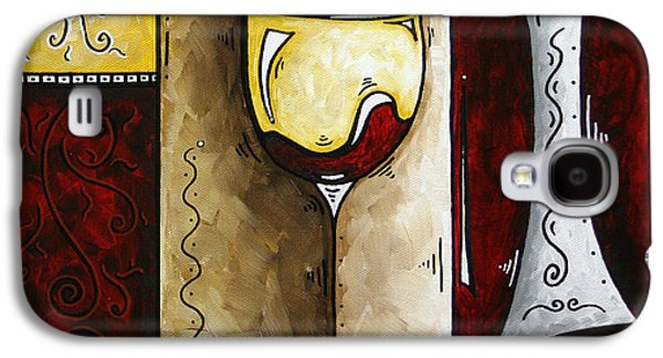 Red Wine Prints Galaxy S4 Cases - BY THE FIRESIDE Original MADART Painting Galaxy S4 Case by Megan Duncanson
