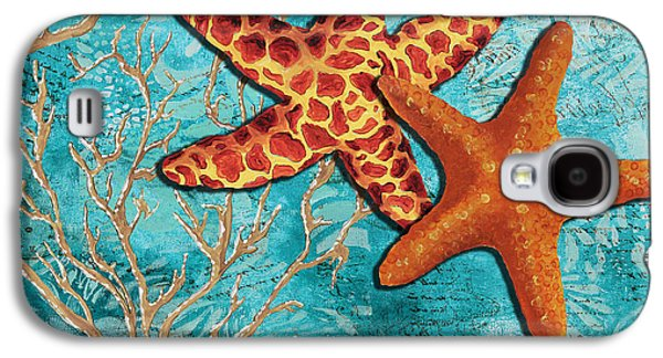 By The Sea Shore Original Coastal Painting Colorful Starfish Art By Megan Duncanson Galaxy S4 Case by Megan Duncanson