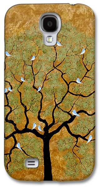 Flock Of Birds Paintings Galaxy S4 Cases - By the tree re-painted Galaxy S4 Case by Sumit Mehndiratta