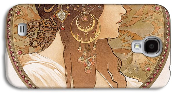 Circles Drawings Galaxy S4 Cases - Byzantine head of a brunette Galaxy S4 Case by Alphonse Marie Mucha