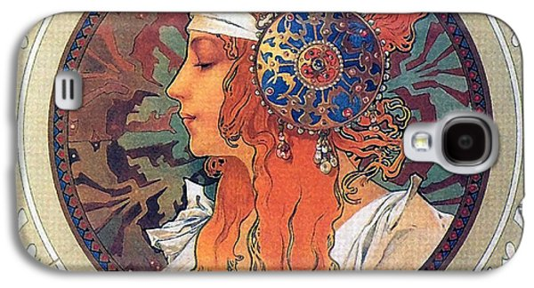 Byzantine Paintings Galaxy S4 Cases - Byzantine Head the Blonde Galaxy S4 Case by Alphonse Mucha