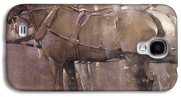 Equestrian Prints Galaxy S4 Cases - Cab Horses by Gaslight  Galaxy S4 Case by Joseph Crawhall