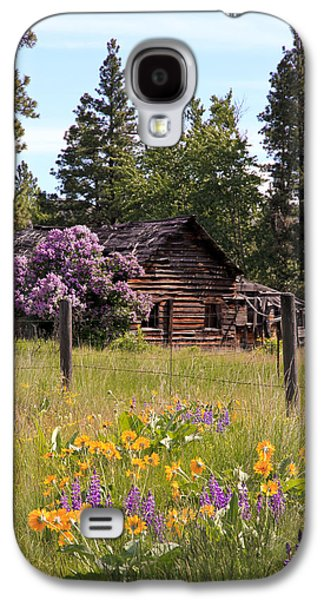 Barn Pen And Ink Galaxy S4 Cases - Cabin and Wildflowers Galaxy S4 Case by Athena Mckinzie