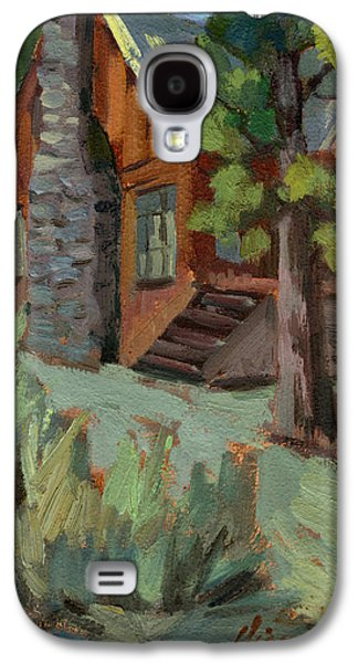 Cabin Paintings Galaxy S4 Cases - Cabin at Big Bear Lake Galaxy S4 Case by Diane McClary