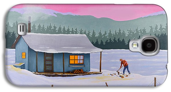 Cabin Paintings Galaxy S4 Cases - Cabin on a frozen lake Galaxy S4 Case by Gary Giacomelli