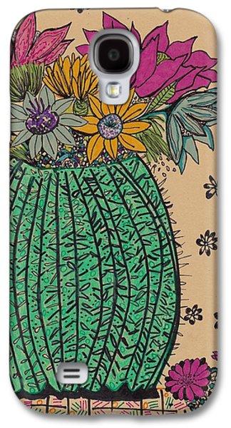 Nature Study Mixed Media Galaxy S4 Cases - Cactus  Galaxy S4 Case by Rosalina Bojadschijew