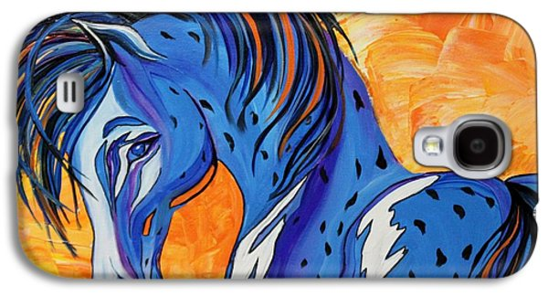 Abstracts Galaxy S4 Cases - CADET the Blue Horse Galaxy S4 Case by Janice Rae Pariza
