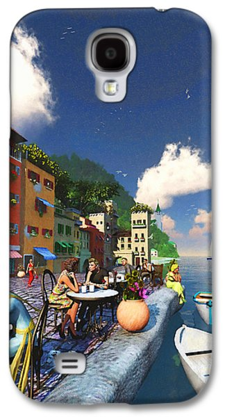 Water Dogs Mixed Media Galaxy S4 Cases - Cafe by the Sea Galaxy S4 Case by Ken Morris