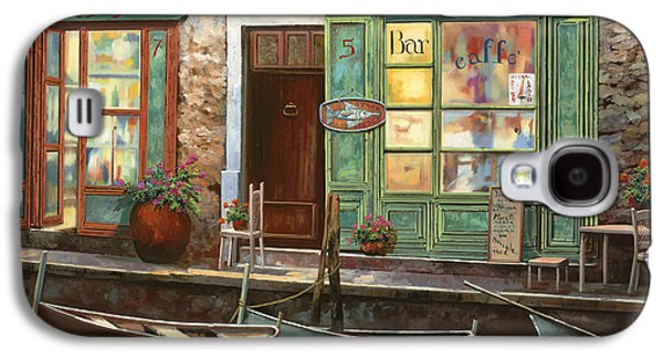 Night Lamp Paintings Galaxy S4 Cases - caffe Carlotta Galaxy S4 Case by Guido Borelli