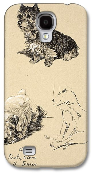 Black Dog Galaxy S4 Cases - Cairn, Sealyham And Bull Terrier, 1930 Galaxy S4 Case by Cecil Charles Windsor Aldin