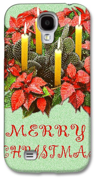 Christmas Cards Galaxy S4 Cases - California Cactus Christmas Galaxy S4 Case by Mary Helmreich