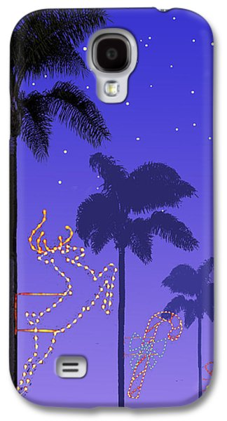 Christmas Cards Galaxy S4 Cases - California Christmas Palm Trees Galaxy S4 Case by Mary Helmreich